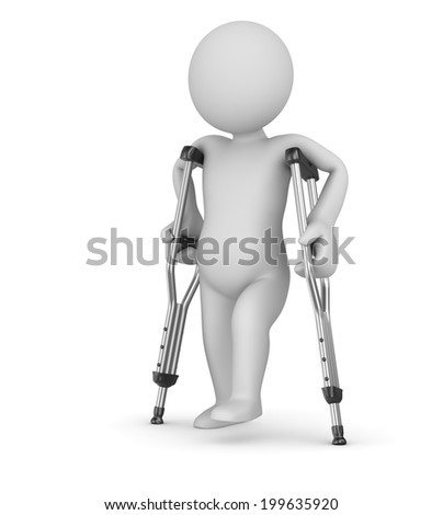 Crutch and man , computer generated image. 3d render. - stock photo
