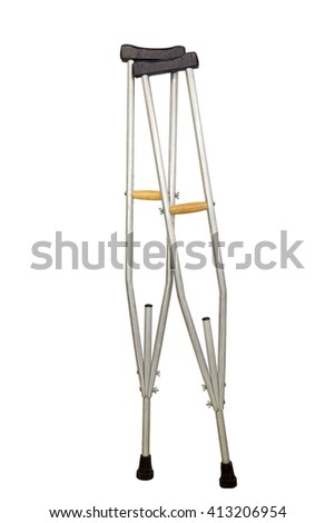 crutches made from aluminum , wood and leather isolated on white background - stock photo