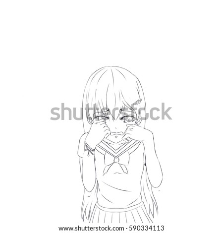 Crying Anime School Girl Is Sad About Something