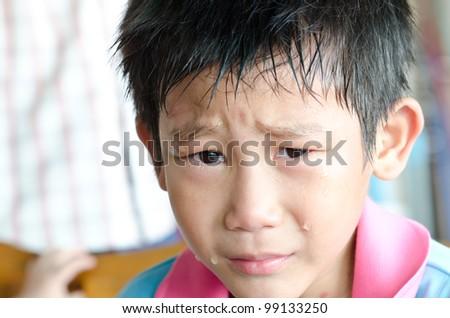 Crying Asian Boy - stock photo