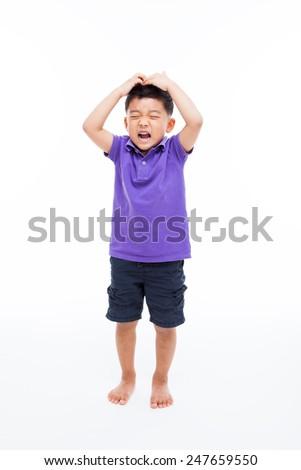 Crying Asian boy full shot  isolated on white - stock photo