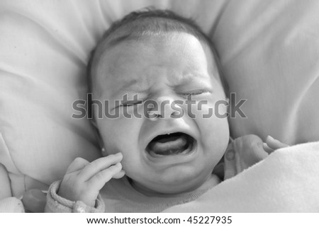 crying baby a month - stock photo