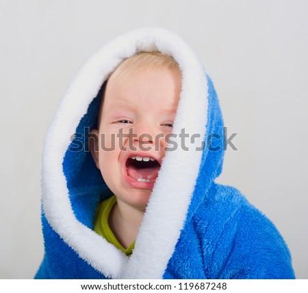 Crying baby boy - stock photo