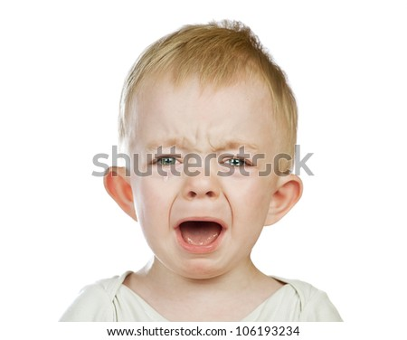 crying baby boy isolated,