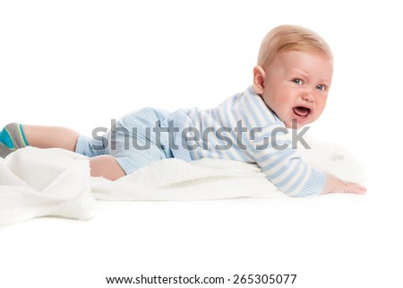 Crying baby boy. Isolated on white background. Studio shot