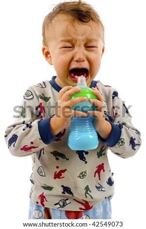 Crying baby boy isolated over a white background - stock photo