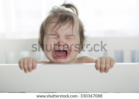 crying baby girl  - stock photo