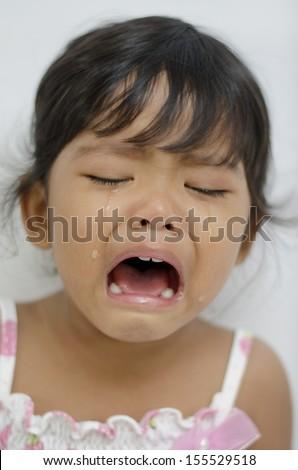 crying baby girl isolated - stock photo