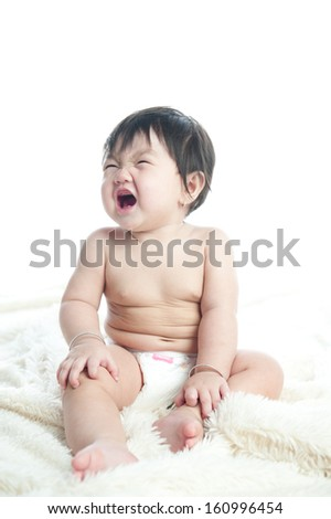 Crying baby girl isolated on white background