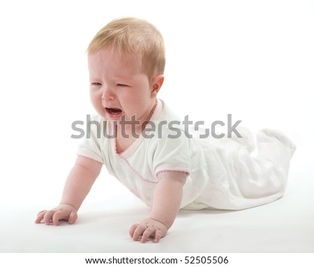 Crying baby on white background