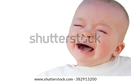 Crying baby on white background. Space  for your text.