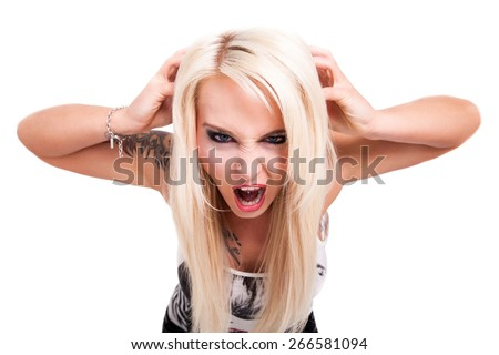 crying blonde woman on isolated background - stock photo