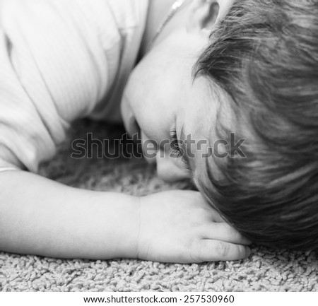 crying child. close up.  - stock photo