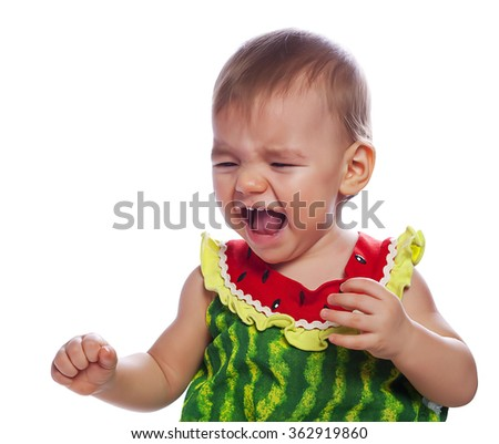 crying cute baby girl - stock photo