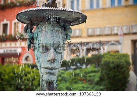 Crying fountain with termal water in Karlovy Vary - stock photo