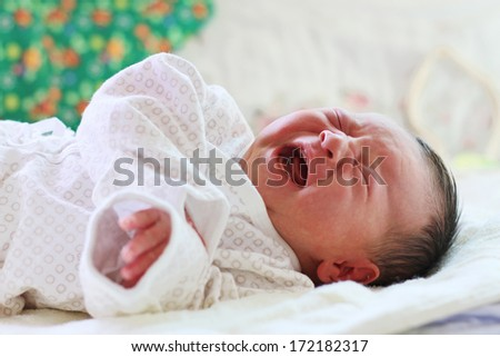 Crying Newborn Baby with narrow focus