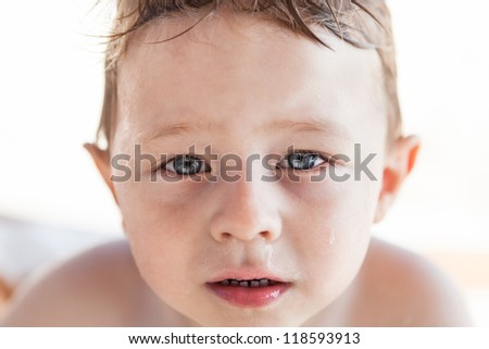 Crying toddler's face