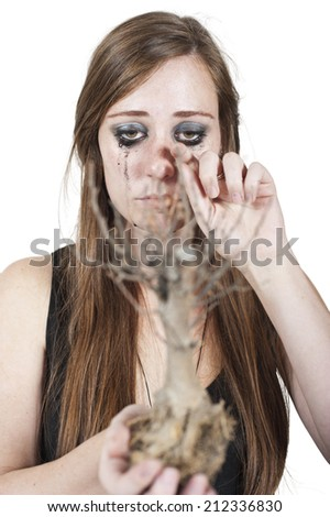 Crying woman depicting concept of dying nature holding a dead bonsai tree. Isolated on white. - stock photo