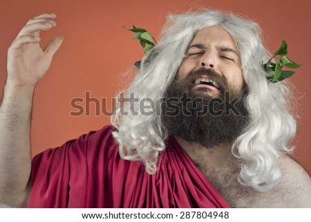 Crying zeus god or jupiter against orange background - stock photo