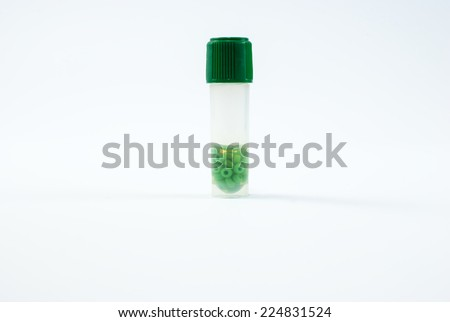 Cryo tubes with cryoperles for microbiological culture preservation - stock photo