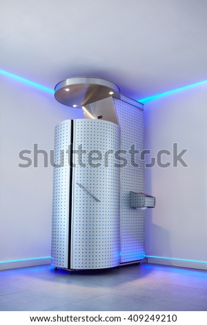 Cryotherapy capsule in cosmetology clinic. Cryo sauna for whole body cryotherapy treatment. - stock photo