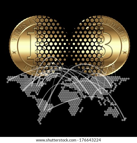 Cryptocurrency coin transaction on digital world map background - stock photo
