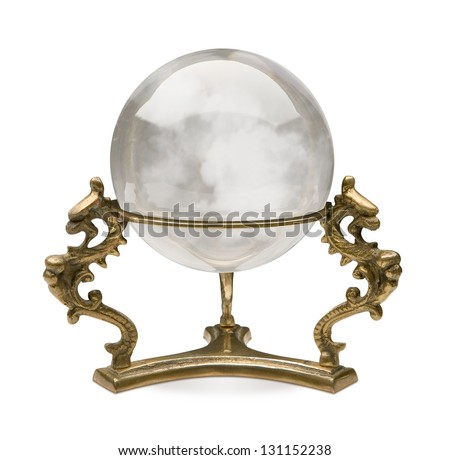 Crystal Ball isolated on a white background with a clipping path - stock photo