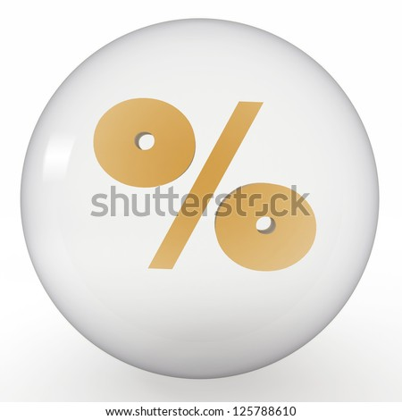 crystal ball with sign of percent inside - stock photo