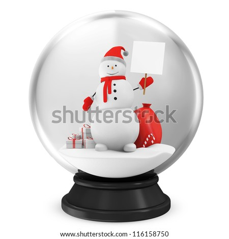 Crystal Ball with Snowman and Different Christmas Accessories isolated on white background