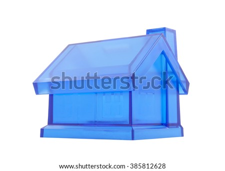 Crystal blue house isolated on white with clipping path  - stock photo