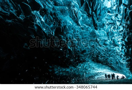 crystal caves iceland - stock photo
