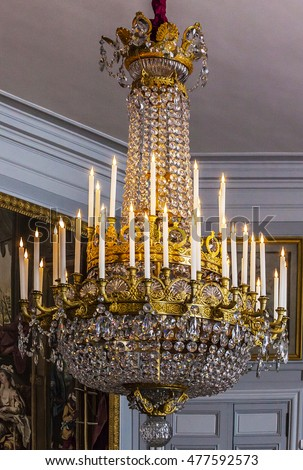 Crystal chandelier trianon france 26 august stock photo royalty crystal chandelier at trianon france 26 august 2016 on the death of his aloadofball Image collections