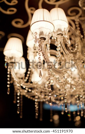 Crystal chandelier with crystal diamonds - stock photo