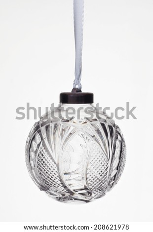 Crystal  Christmas ornament isolated on white - stock photo