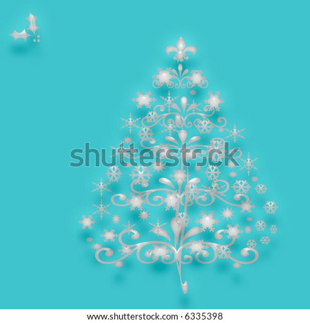 crystal Christmas tree with ornaments  on  blue background