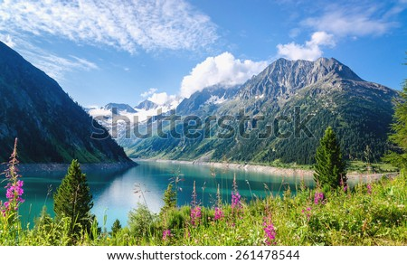 Crystal clear alpine lake Schlegeis with colorful flowers and mountain peaks in background, Schlegeis, Zillertal Alps, Mayerhofen, Austria - stock photo