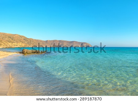 Crystal clear blue water in south Crete, Greece - stock photo