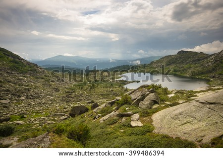 Crystal clear lake in the mountains of Siberia, natural Park Ergaki - stock photo