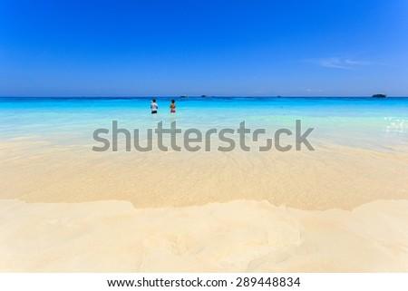 Crystal clear sea of tropical island, Similan, Thailand - stock photo
