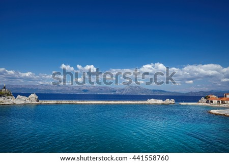 crystal clear water of Adriatic sea in Brela on Makarska Riviera, Dalmatia, Croatia - stock photo