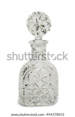 crystal decanter on a white background