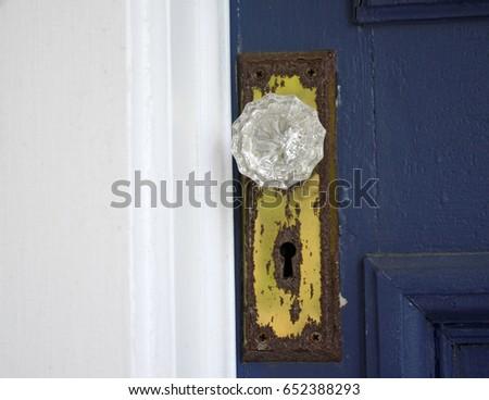 Crystal door knob on rusty metal plate of an old house with bright blue door knob & Rust Knob Door Stock Images Royalty-Free Images u0026 Vectors ... pezcame.com