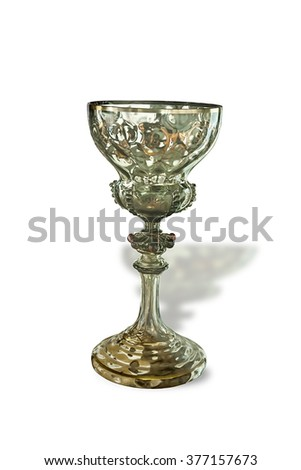 Crystal glass goblet of the 18th century. Europe. Isolated  illustration on white background.
