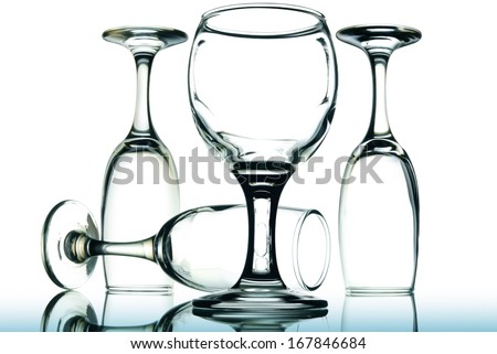 Crystal glasses isolated on white background. - stock photo
