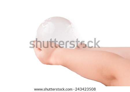 Crystal globe in hand on White Isolate background - stock photo
