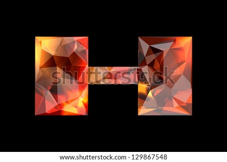 Crystal letter H, isolated on black background. - stock photo
