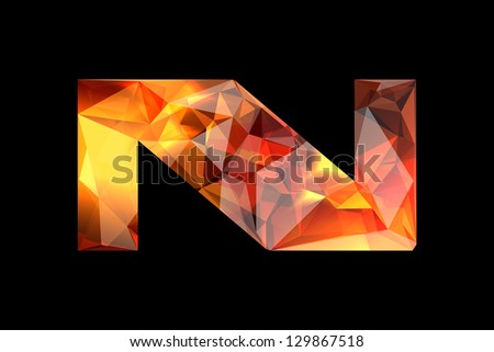 Crystal letter N, isolated on black background. - stock photo