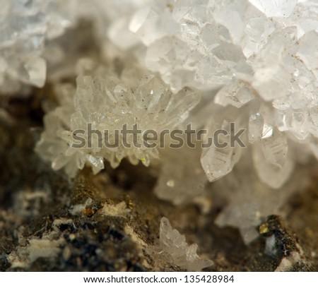 Crystal,nugget, gold, bronze, copper, iron. Macro. - stock photo