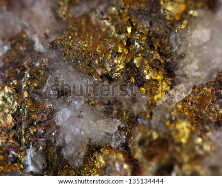 Crystal,nugget, gold, bronze, copper, iron. Macro. Extreme closeup