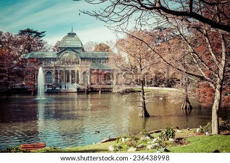 Crystal Palace (Palacio de cristal) in Retiro Park,Madrid, Spain.  - stock photo